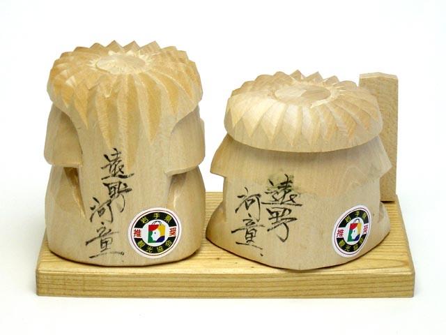 木彫り河童 夫婦セット商品背面画像